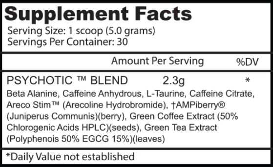 Psychotic Pre Workout Supplement Facts Sport1stfutureorg